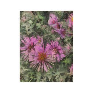 Stylized Flowers 2 Wood Poster
