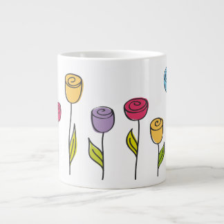 stylized flowers in various colors jumbo mug