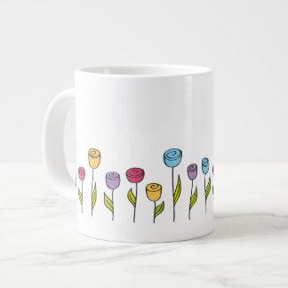 stylized flowers in various colors jumbo mug