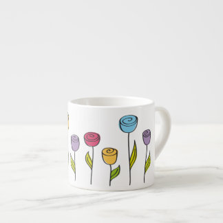 stylized flowers in various colors espresso mug