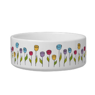 Stylized flowers, various colors cat bowl