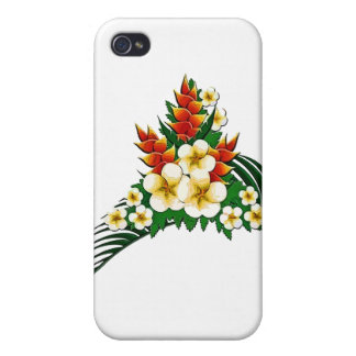 Stylized Ginger & Plumeria Fronds iPhone 4 Cases