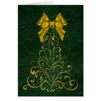 Stylized Gold Christmas Tree Greeting Card