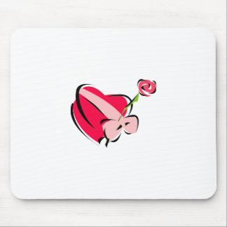 Stylized Heart Shaped Box of Candy with a Pink Bow Mouse Pad