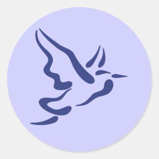 Stylized Heron in Flight Classic Round Sticker