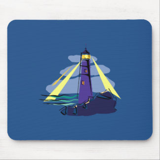 Stylized Lighthouse on Rocks by Sea Shining Lights Mouse Pads