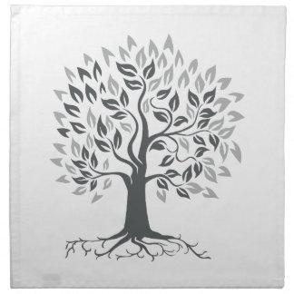 Stylized Oak Tree with Roots Retro Napkin