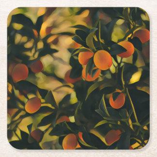 Stylized Orange Tree Coaster