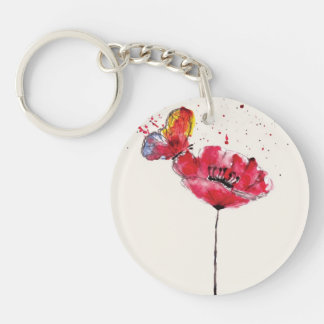 Stylized painted watercolor poppy flower Double-Sided round acrylic key ring