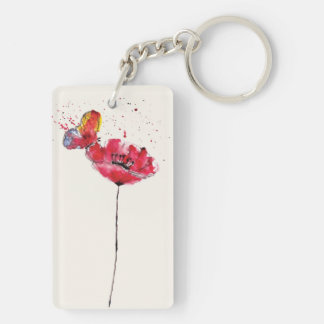 Stylized painted watercolor poppy flower Double-Sided rectangular acrylic keychain