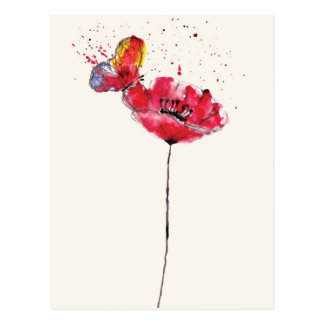 Stylized painted watercolor poppy flower postcard