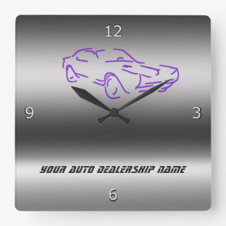 Stylized purple Classic Car on metallic-look Square Wall Clock