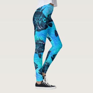 Stylized Quillback On Blue - Leggings