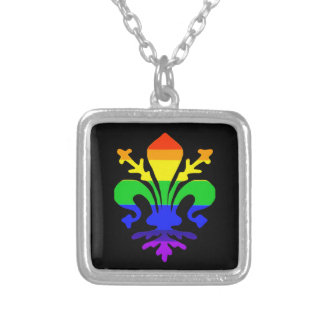 Stylized Rainbow Fleur de Lis Silver Plated Necklace