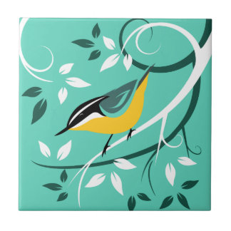 Stylized Red Breasted Nuthatch Small Square Tile
