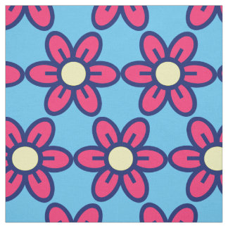 Stylized red Flowers Fabric