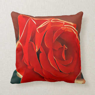 Stylized Red Rose Throw Pillow