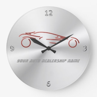 Stylized Red Sportscars on radial metallic-look Large Clock