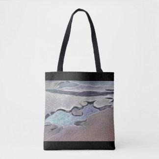 Stylized rockplatform and tidal pool tote bag
