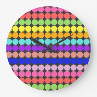Stylized round flowers (white background) large clock