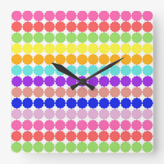 Stylized round flowers (white background) square wall clock