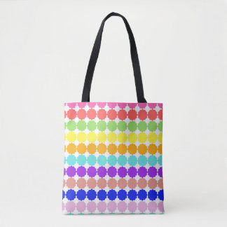 Stylized round flowers (white background) tote bag