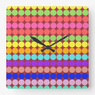 Stylized round flowers (white/dark background) square wall clock