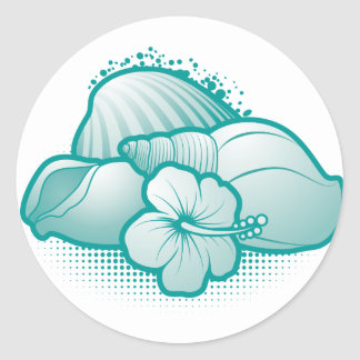 Stylized seashells 6 blue classic round sticker