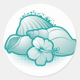 Stylized seashells 6 blue round sticker