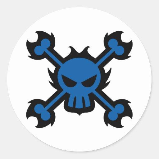 Stylized Skull Icon Sticker in Blue
