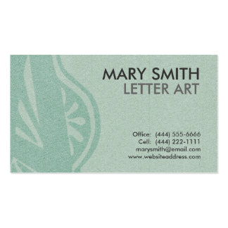 Stylized Soft Green Letter A Business Card