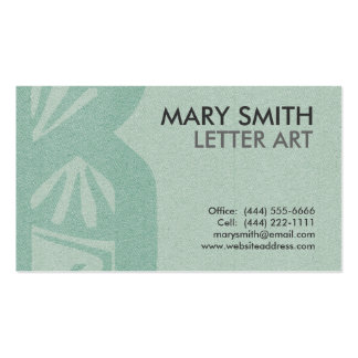 "Stylized Soft Green Letter ""B"" Business Card"