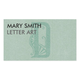 """Stylized Soft Green Letter """"D"""" Business Card"""