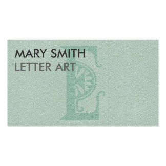 "Stylized Soft Green Letter ""E"" Business Card"