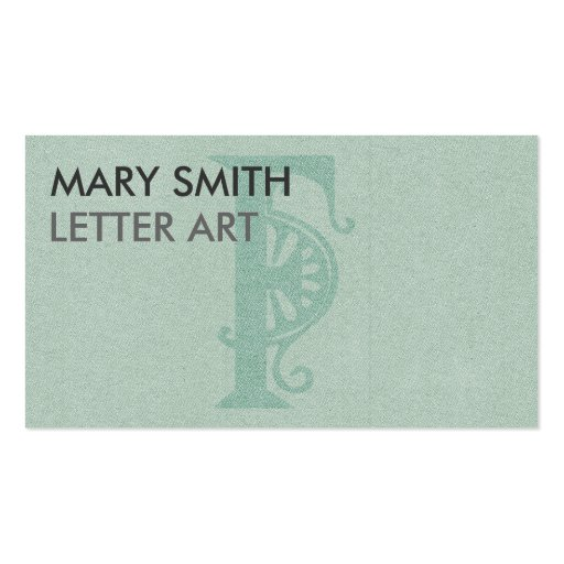 """Stylized Soft Green Letter """"F"""" Business Card"""