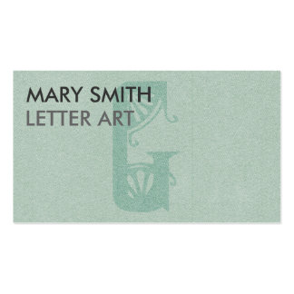 Stylized Soft Green Letter G Business Card