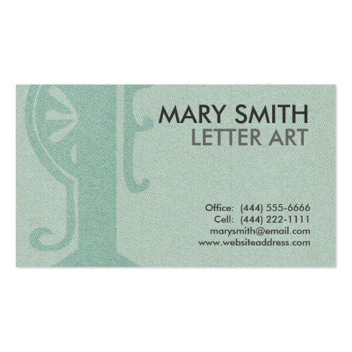 "Stylized Soft Green Letter ""I"" Business Card"