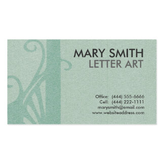 "Stylized Soft Green Letter ""J"" Business Card"
