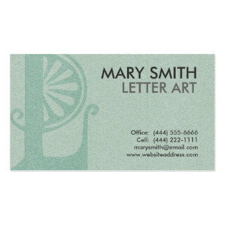 "Stylized Soft Green Letter ""L"" Business Card"
