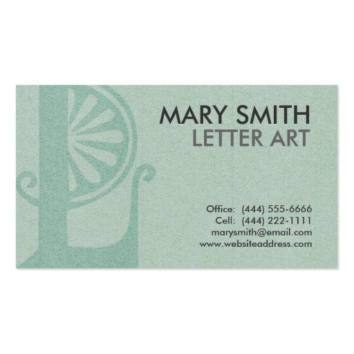 """Stylized Soft Green Letter """"L"""" Business Card"""