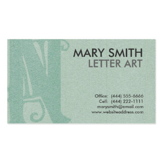"Stylized Soft Green Letter ""N"" Business Card"