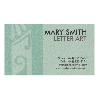 "Stylized Soft Green Letter ""Q"" Business Card"