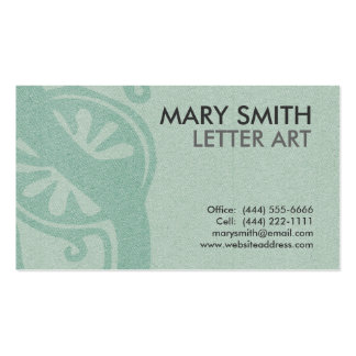 "Stylized Soft Green Letter ""S"" Business Card"