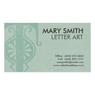 "Stylized Soft Green Letter ""T"" Business Card"
