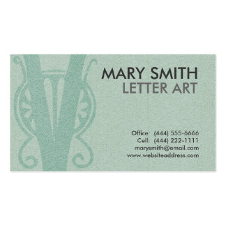 "Stylized Soft Green Letter ""V"" Business Card"