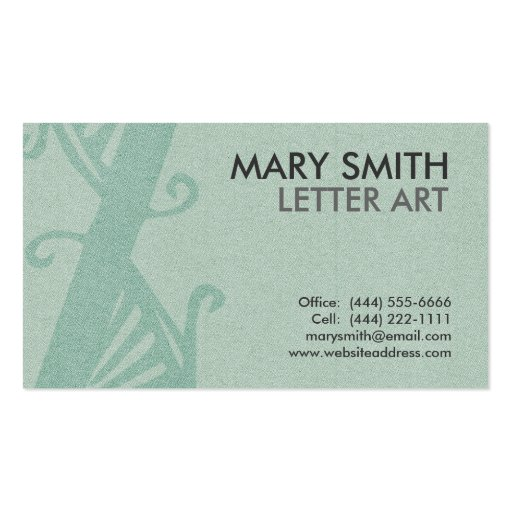 "Stylized Soft Green Letter ""Z"" Business Card"