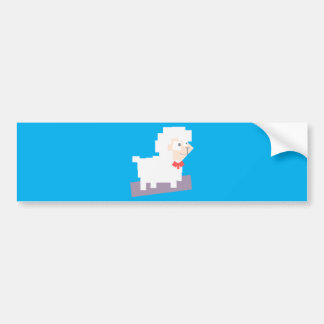Stylized Square Shaped Cartoon Sheep with Bow Tie Bumper Sticker