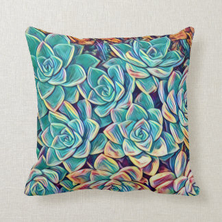 Stylized Succulent Plants Throw Pillow / Cushion