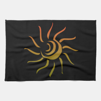 Stylized Sun Upon Black Background Tea Towel