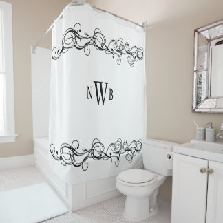 Stylized Swirly Border Monogram Shower Curtain